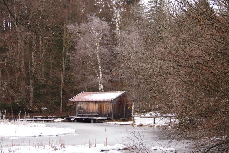 Winterlich gefrorener, schneebedeckter Hackensee, Oberbayern