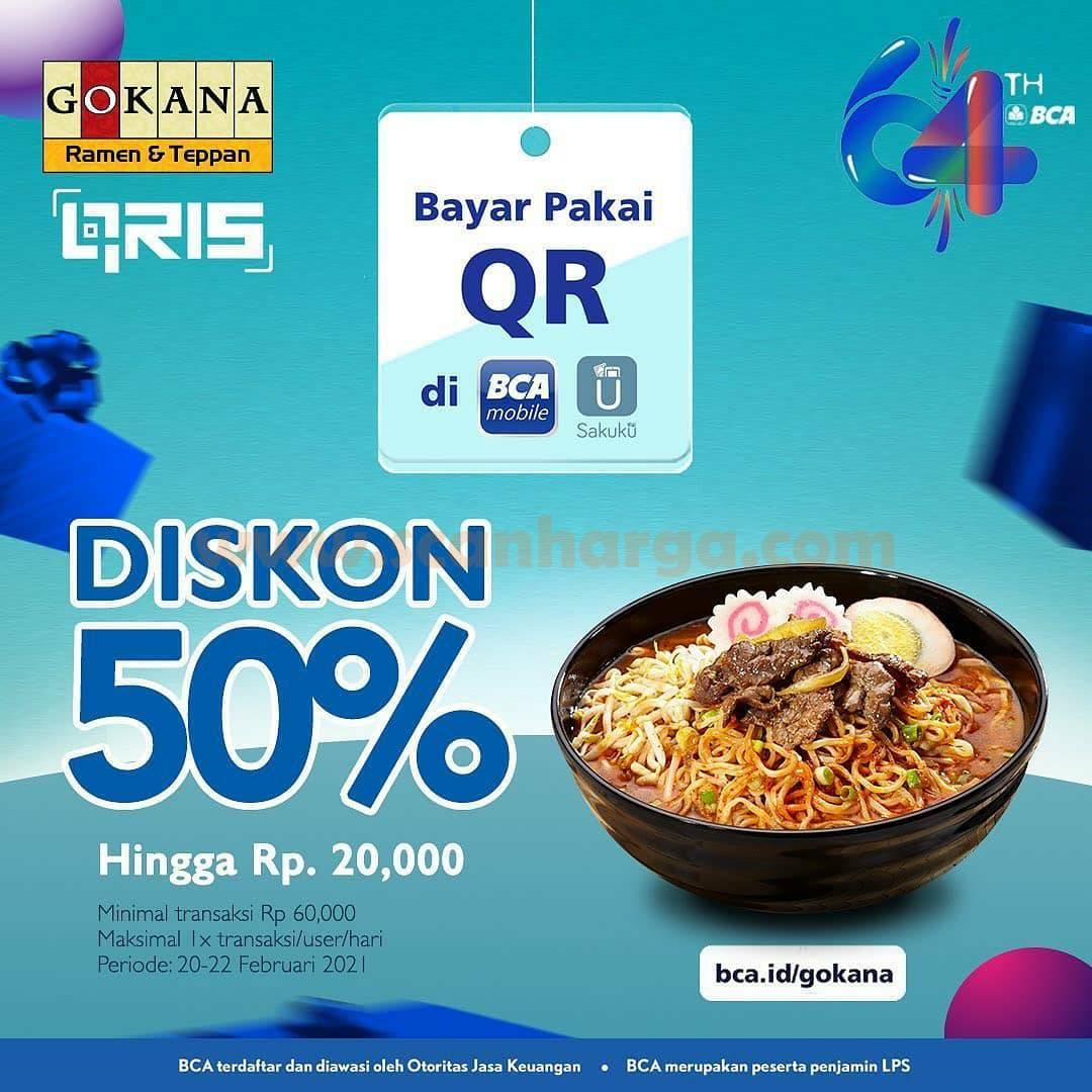 GOKANA Promo HUT BCA 64 – DISKON Rp 6.400 dengan Qris BCA Mobile & Sakuku