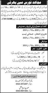 Join Mujahid Force as Sipahi 2021, Pakistan Army Advertisement
