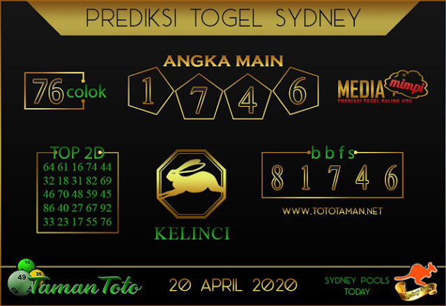 Prediksi Togel SYDNEY TAMAN TOTO 20 APRIL 2020