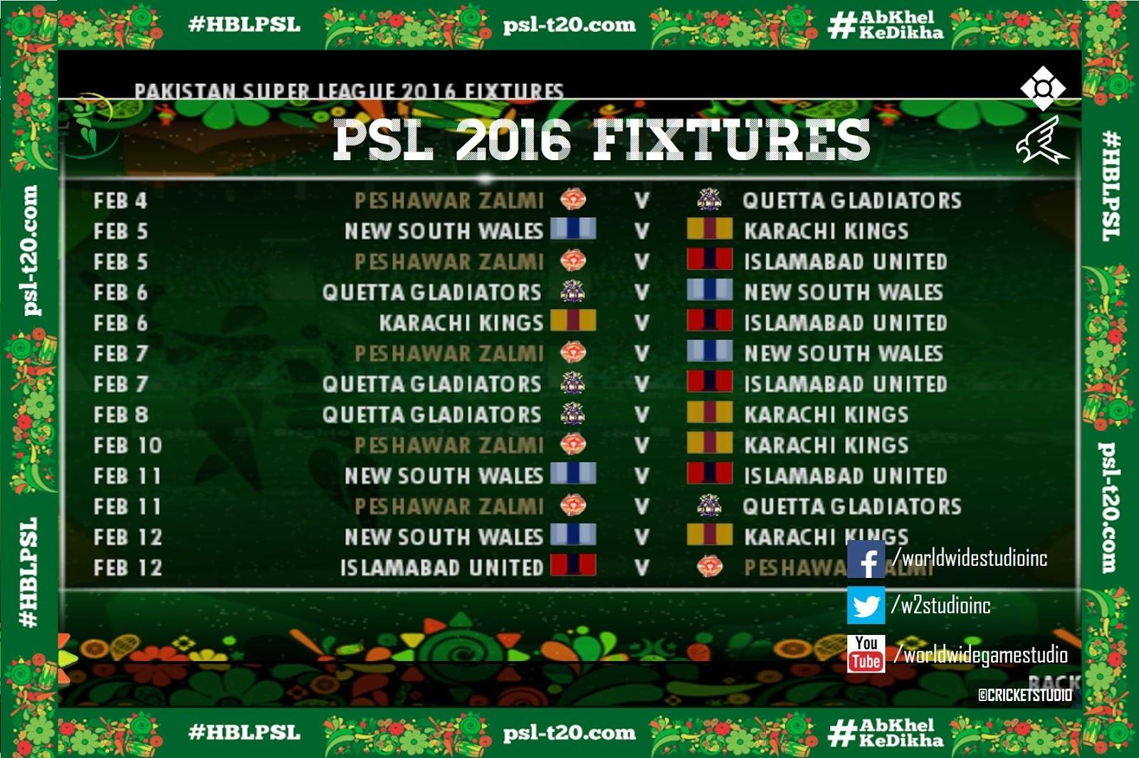 Psl Fixtures 2019 Today