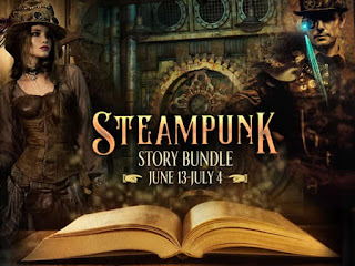 Image of vintage book with Victorian characters in background with text: Steampunk Story Bundle
