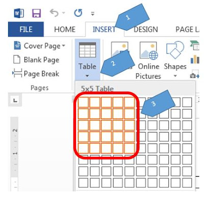 Insert table 5 X 5 in MS Word 2013
