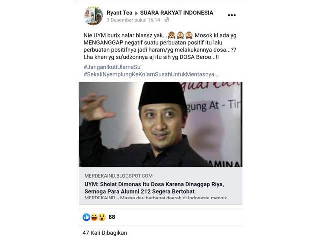 Berita Palsu Mencatut Nama Besar Ustadz Yusuf Mansur