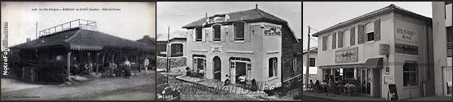 """""""Hôtel de France"""", de Mimizan (en 1890, 1920 y 2016)"""