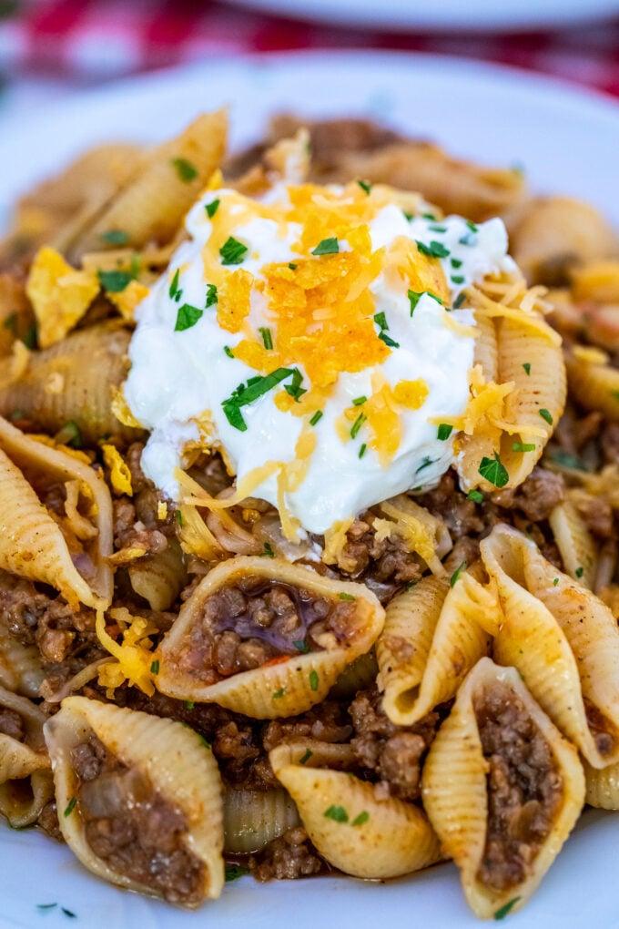 THE BEST TACO PASTA #pasta #taco #dinner