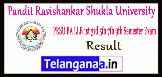 PRSU Pandit Ravishankar Shukla University BA LLB 1st 3rd 5th 7th 9th Semester Result