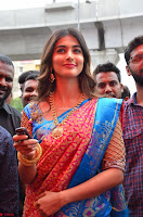 Puja Hegde looks stunning in Red saree at launch of Anutex shopping mall ~ Celebrities Galleries 106.JPG
