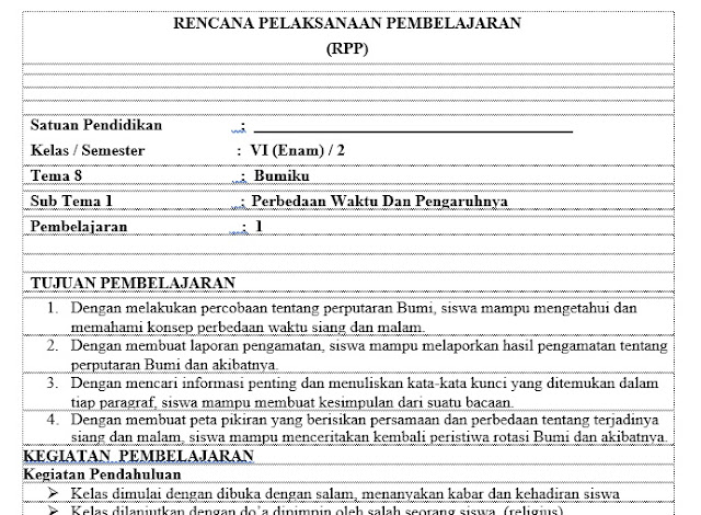 Download Rpp 1 Lembar Kelas 6 Sd Kurikulum 2013 Revisi 2018 Sd Negeri Dabung 2