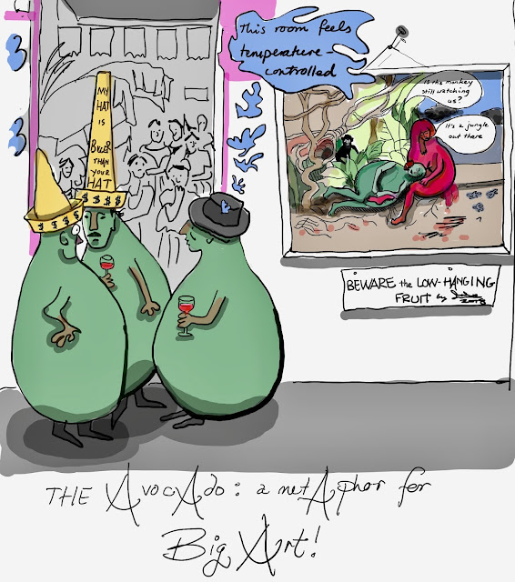 Cartoon about Riviera, Kahlo and avocados