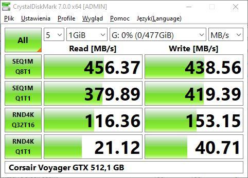 Corsair Voyager GTX 512 na porcie USB wyprowadzonym z przodu obudowy (podłączony taśmą do płyty głównej)