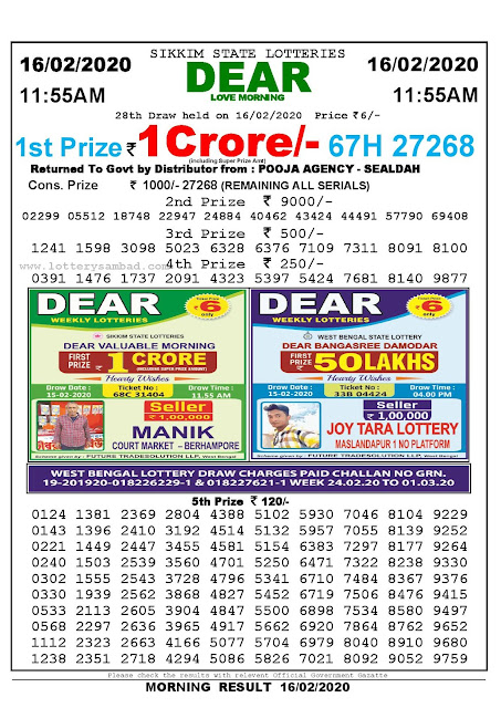 Sikkim State 16-02-2020 :Lottery Sambad Result 11:55 AM