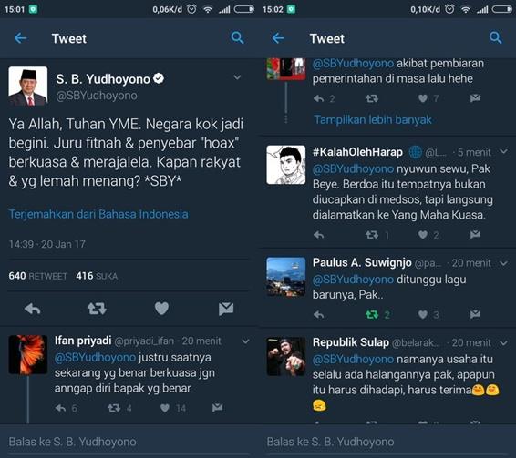 SBY Berdoa di Twitter: Ya Allah Negara Kok Jadi Begini, Kapan Rakyat dan yang Lemah Menang