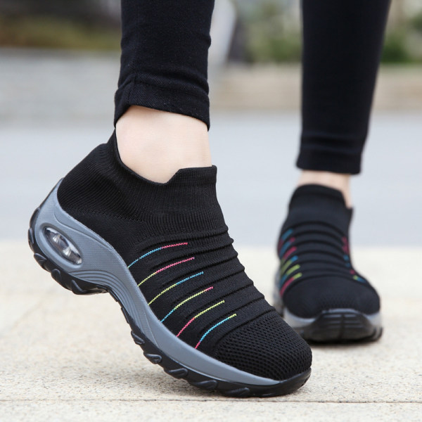 Women's air cushion flying woven sneakers - Black