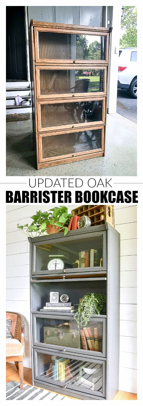 Before and after-an oak barrister style bookcase makeover