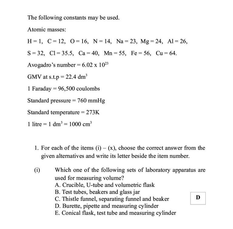 NECTA Questions and Notes: Form Four - Chemistry Paper 1