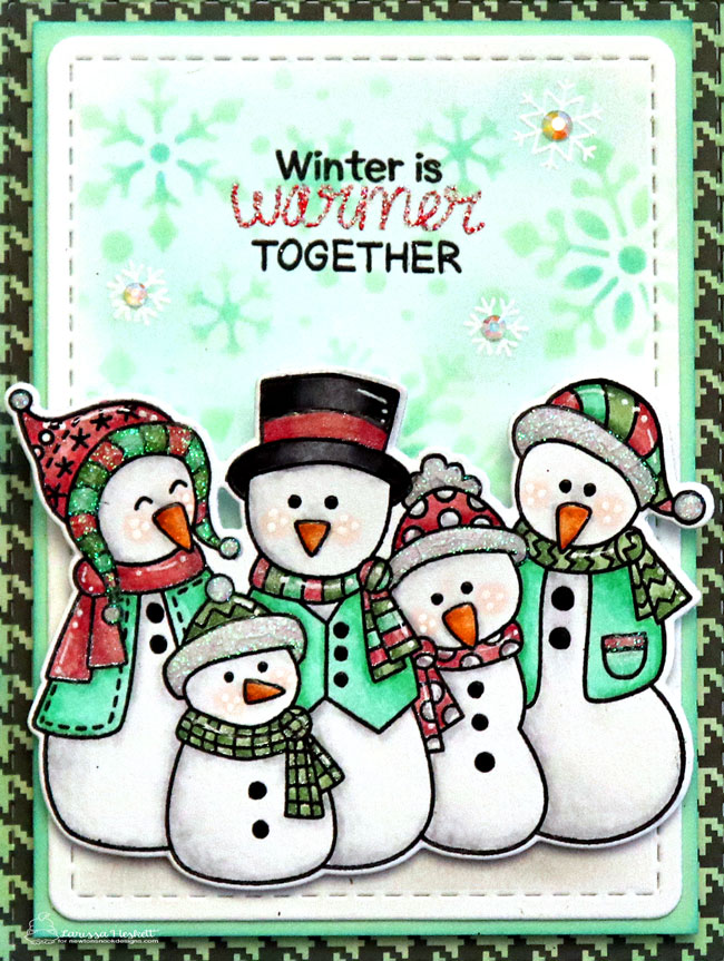 Winter is Warmer Together Snowman  Card by Larissa Heskett | Frosty Folks Stamp Set, Snowfall Stencil, Frames & Flags Die Set, and Framework Die Set by Newton's Nook Designs #newtonsnook #handmade