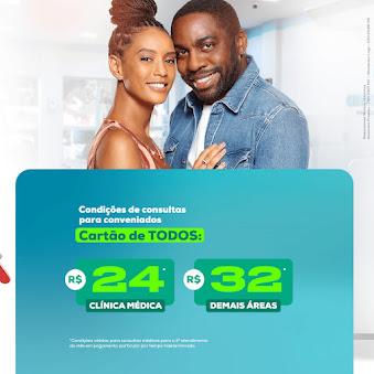 O Cartão de Todos é o maior cartão de Descontos na área da Saúde do Brasil.