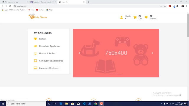 Build Ecommerce site from scratch using React,Node&Bootstrap