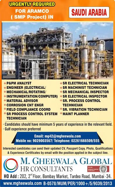 Saudi Arabia Jobs, Oil & Gas Jobs, Electrical Engineer, Mechanical Engineer, Rotating Equipment Engineer, Instrumentation Engineer, M. Gheewala Global HR Consultants