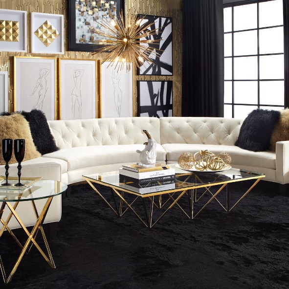 Dining room with gold home décor a modern leather dining room