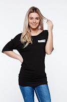Tricou MissQ negru casual lung din material usor elastic • MissQ