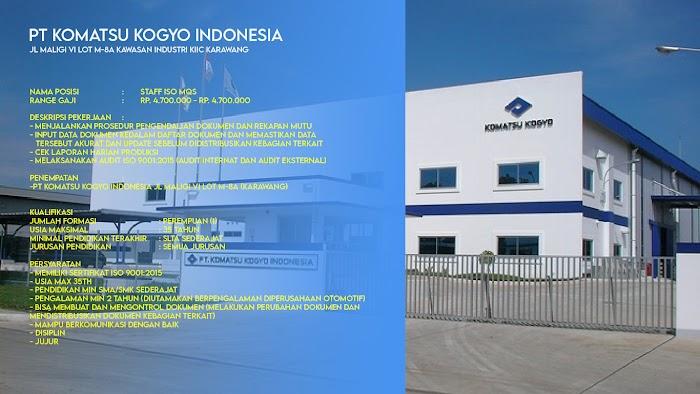 Loker STAFF ISO MQS I PT KOMATSU KOGYO INDONESIA