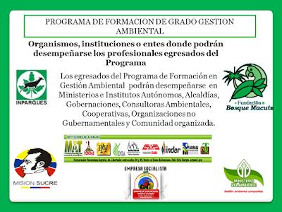 Instituciones donde podrán ejercer los Profesionales Egresados del Programa de Gestión Ambiental