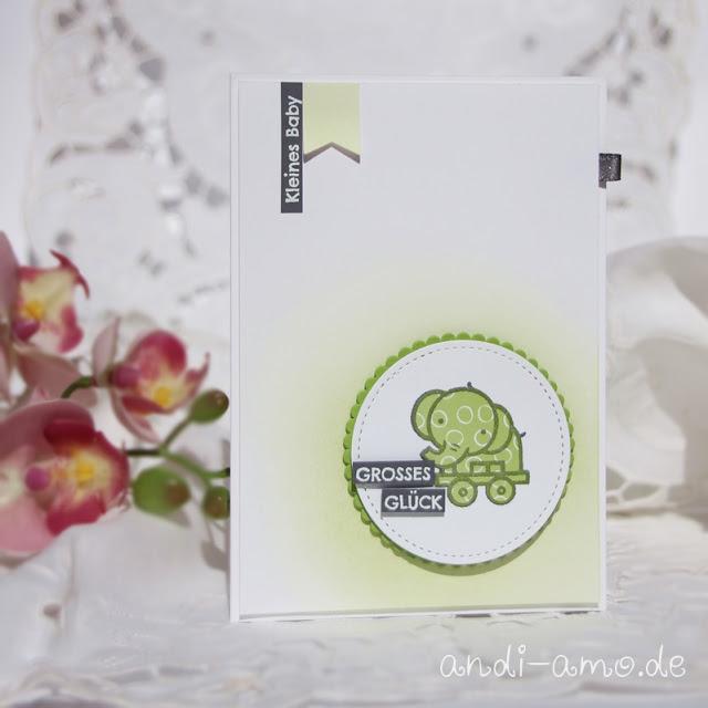 Karte zur Geburt Grün Stampin Up DIY