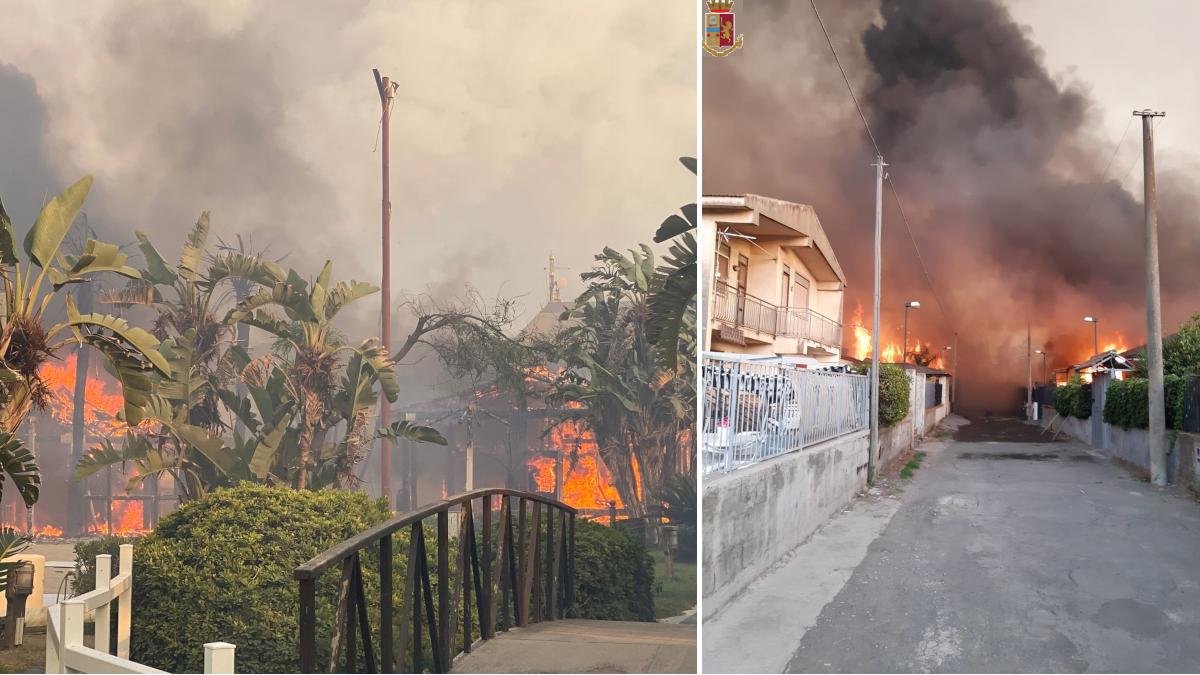 Foto e video emergenza incendi playa di Catania Polizia