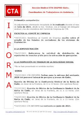 C.T.A. INFORMA, LO REALIZADO EN JULIO DE 2021