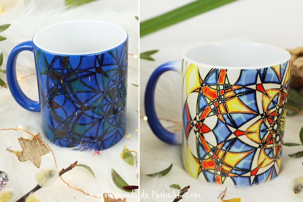 Mug  magique Blue bird mandalas