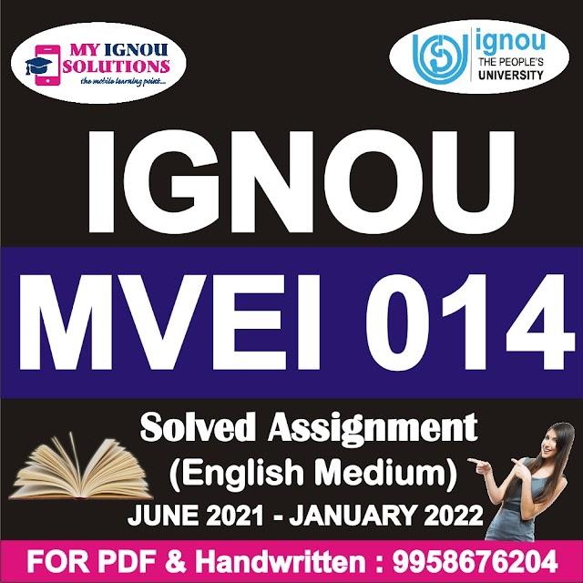 MVEI 014 Solved Assignment 2021-22