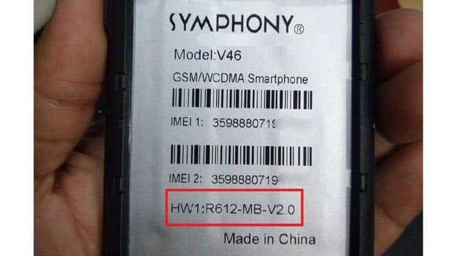Symphony V46 R612-Mb-V2.0 Flash File Without Password MT6580 5.1