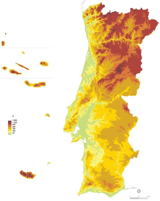 mapa hipsométrico de portugal Tempo de crescer, tempo de aprender: Estudo do meio   Relevo de  mapa hipsométrico de portugal