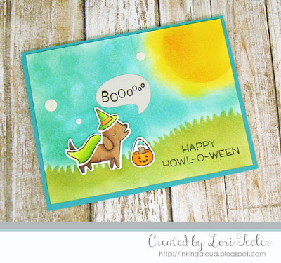 Happy Howl-o-ween card-designed by Lori Tecler/Inking Aloud-stamps and dies from Lawn Fawn