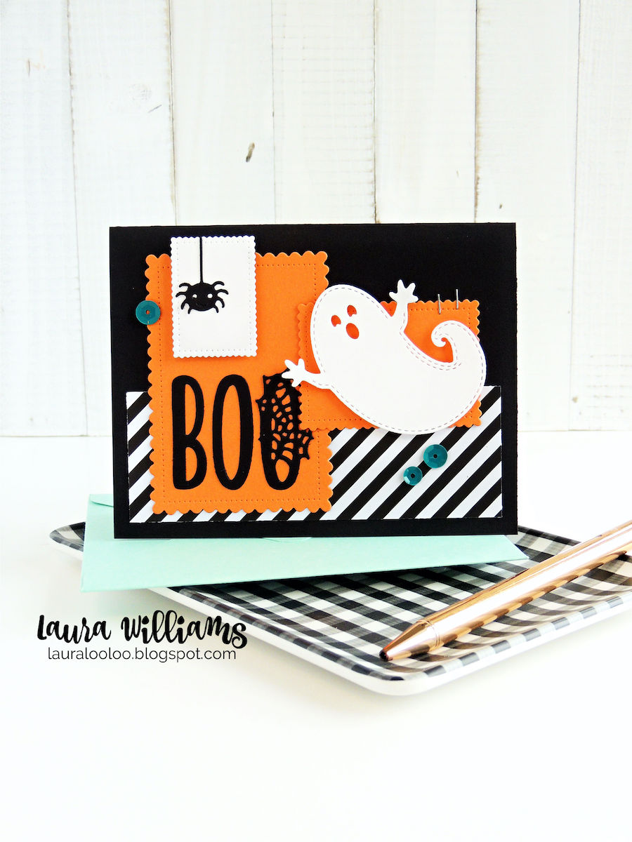 Make a DIY handmade card for Halloween using stamps and dies from Impression Obsession. This spooky and sweet homemade card was created with a die cut ghost and BOO sentiment which are so easy to use. The striped patterned paper is a fun accent, along with teal sequins and mini staples. #cardmaking #halloweencraft #diecutting