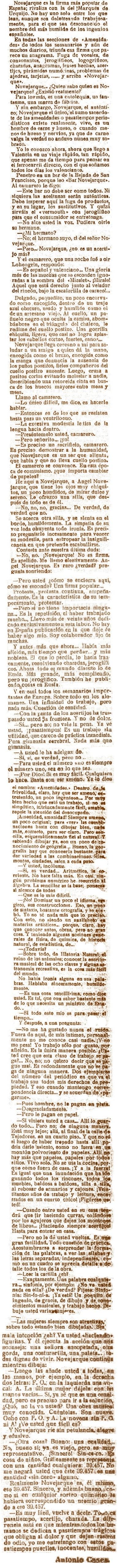 Artículo de Antonio Cases en 1920, Novejarque es un acertijo más
