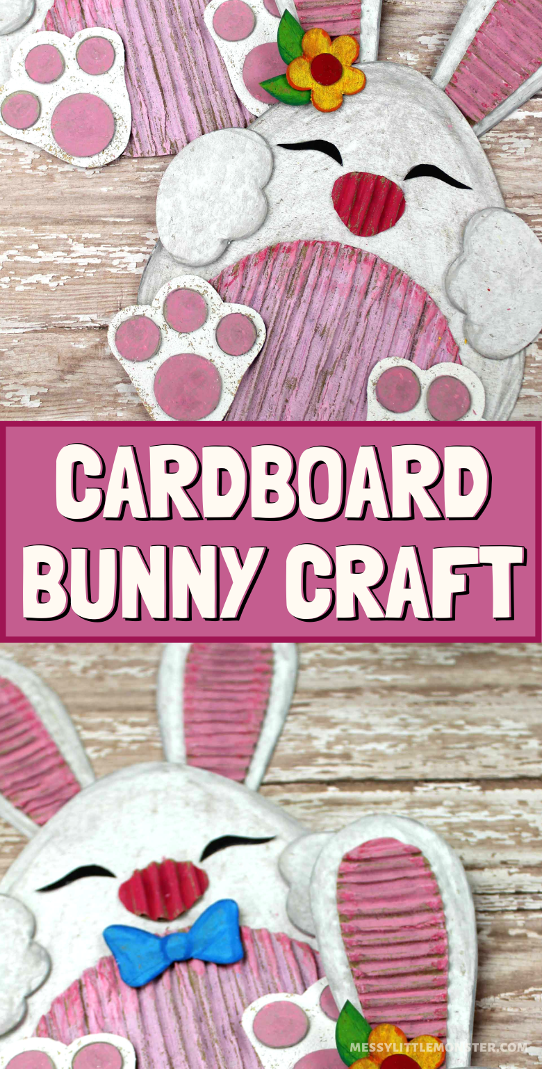 Bunny craft for kids. This cardboard craft with template makes a great Easter activity for kids.