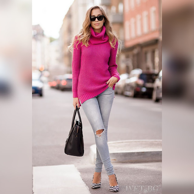 Μακρυμάνικο γυναικείο ροζ πουλόβερ ADELIA