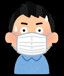 マスクを付けた人の表情のイラスト(男性・驚いた顔)