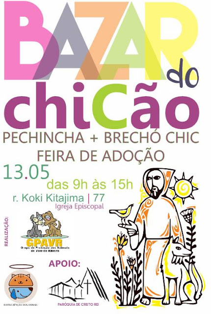 GPA CONVIDA PARA O BAZAR DO CHICÃO NO DIA 13 DE MAIO NA EPISCOPAL DE REGISTRO