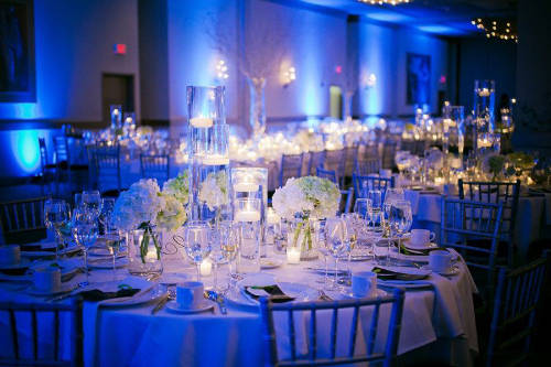 royal blue and gold wedding reception ideas