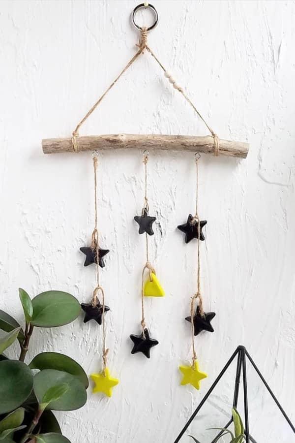 paper mache stars and triangles rustic mobile