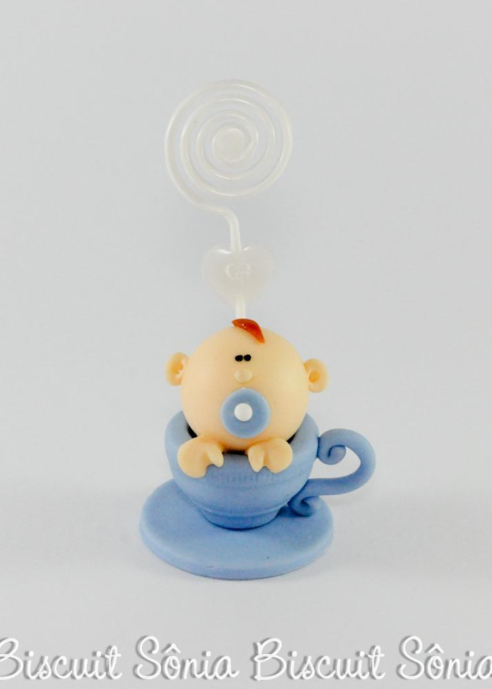 lembrancinha de chá de bebê biscuit menino na xícara