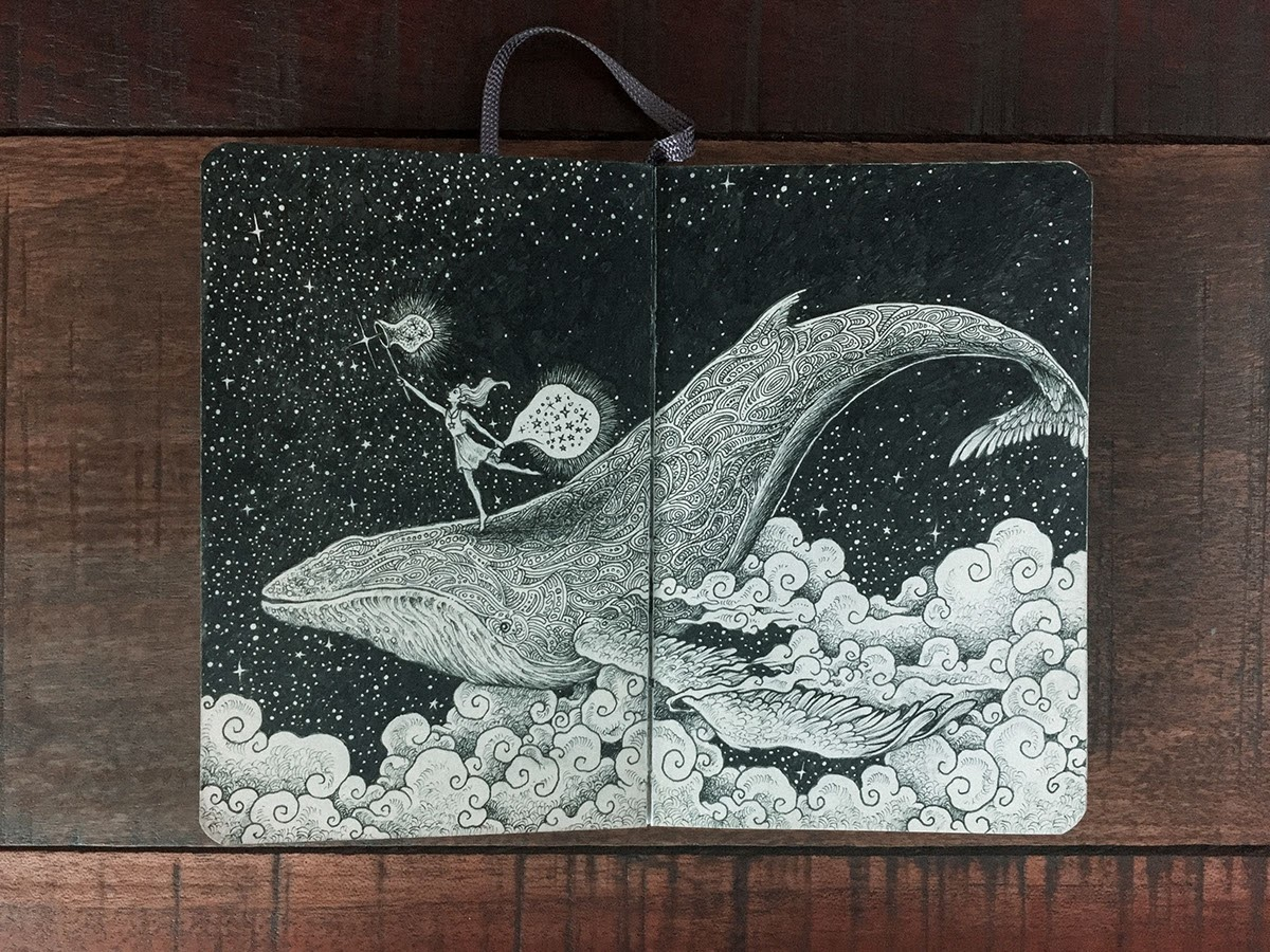 02-On-a-Whale-Catching-Stars-Kerby-Rosanes-Detailed-Moleskine-Doodles-with-many-Whales-www-designstack-co