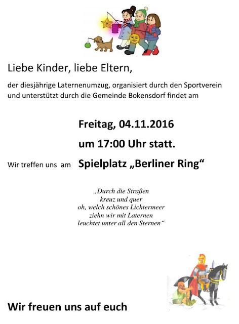 Einladung Laternenumzug Bokensdorf