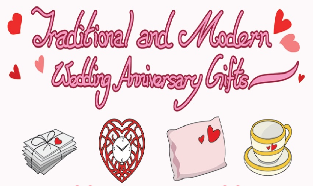 Traditional and Modern Wedding Anniversary Gifts #infographic