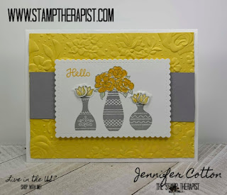 In this Daffodil Delight and Smoky Slate hello card, I used Stampin' Up!'s Varied Vases, Vibrant Vases, and Vases Builder Punch.  I also used the Country Floral folder and Stitched So Sweetly dies!  Several of these items are retiring June 3!  Get them while you can!  There's a video on the blog post!  #StampTherapist #StampinUp
