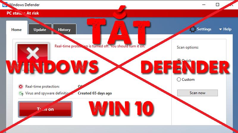Cách tắt Windows Defender trên Windows 10 đơn giản